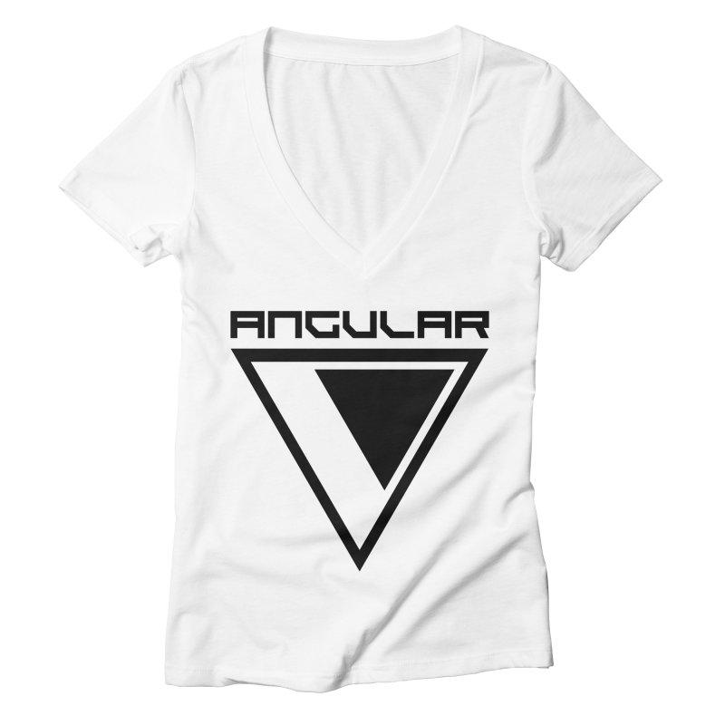 Angular Logo Black Women's V-Neck by Sergio Seabra's Shop
