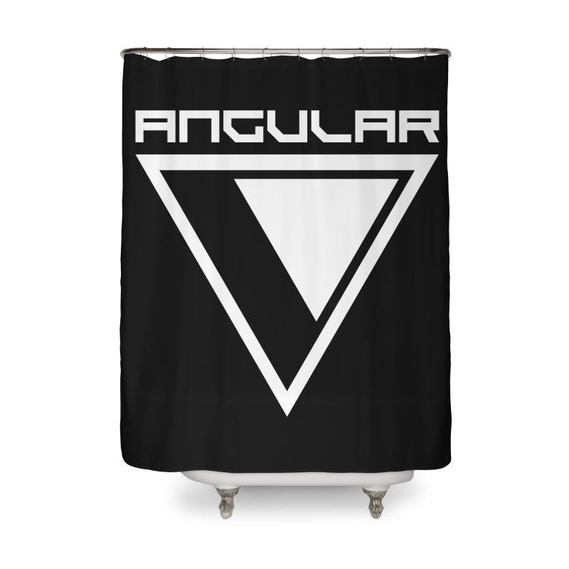 Angular Logo White Home Shower Curtain by Sergio Seabra's Shop