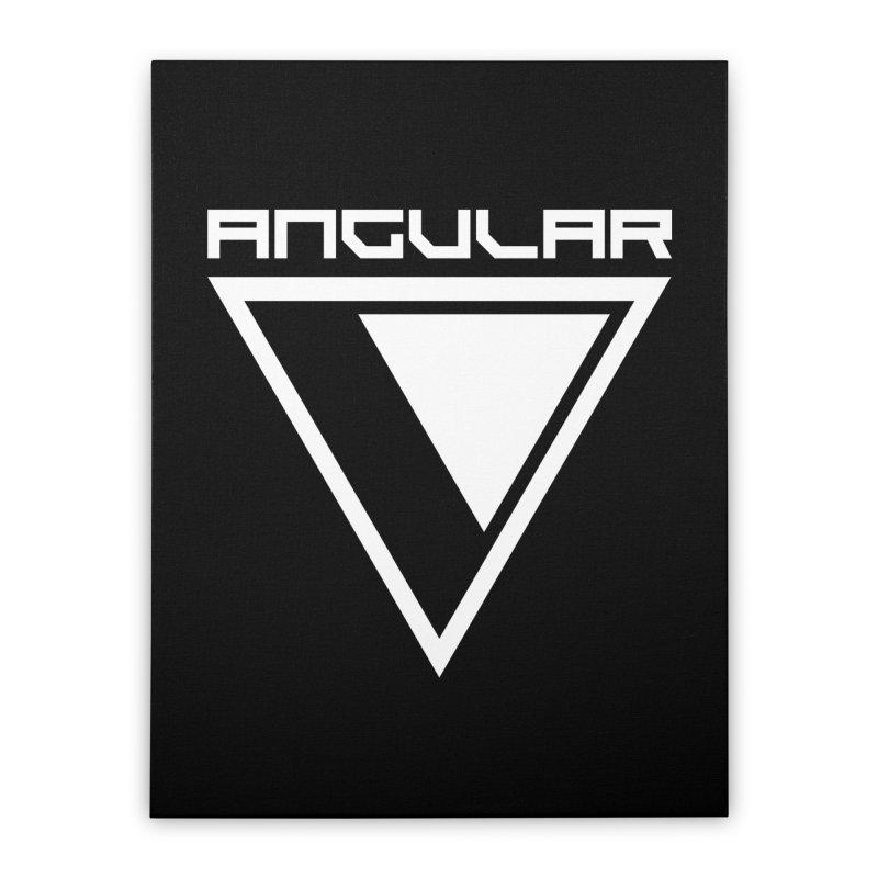 Angular Logo White Home Stretched Canvas by Sergio Seabra's Shop