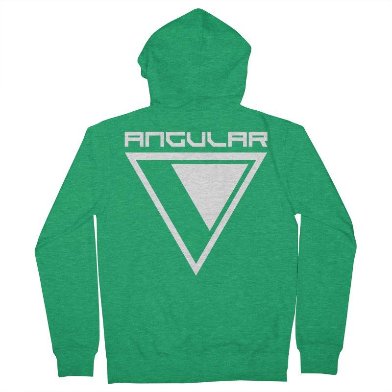 Angular Logo White Men's Zip-Up Hoody by Sergio Seabra's Shop