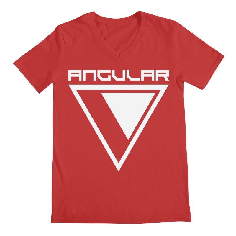 Angular Logo White Men's V-Neck by Sergio Seabra's Shop