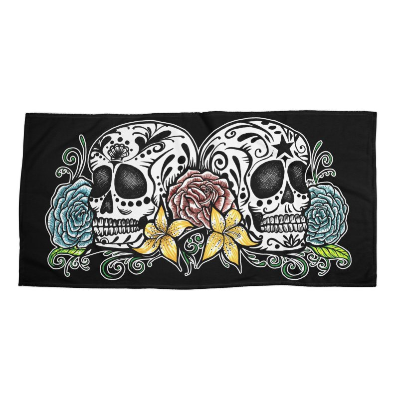 DOS CALAVERAS Accessories Beach Towel by serpenthes's Artist Shop