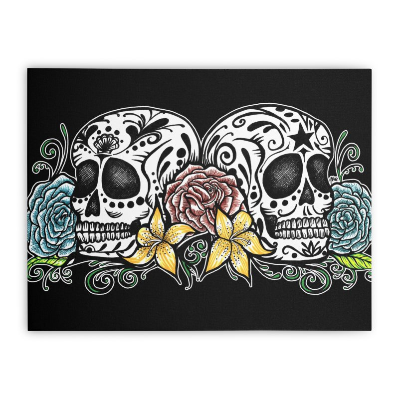 DOS CALAVERAS Home Stretched Canvas by serpenthes's Artist Shop