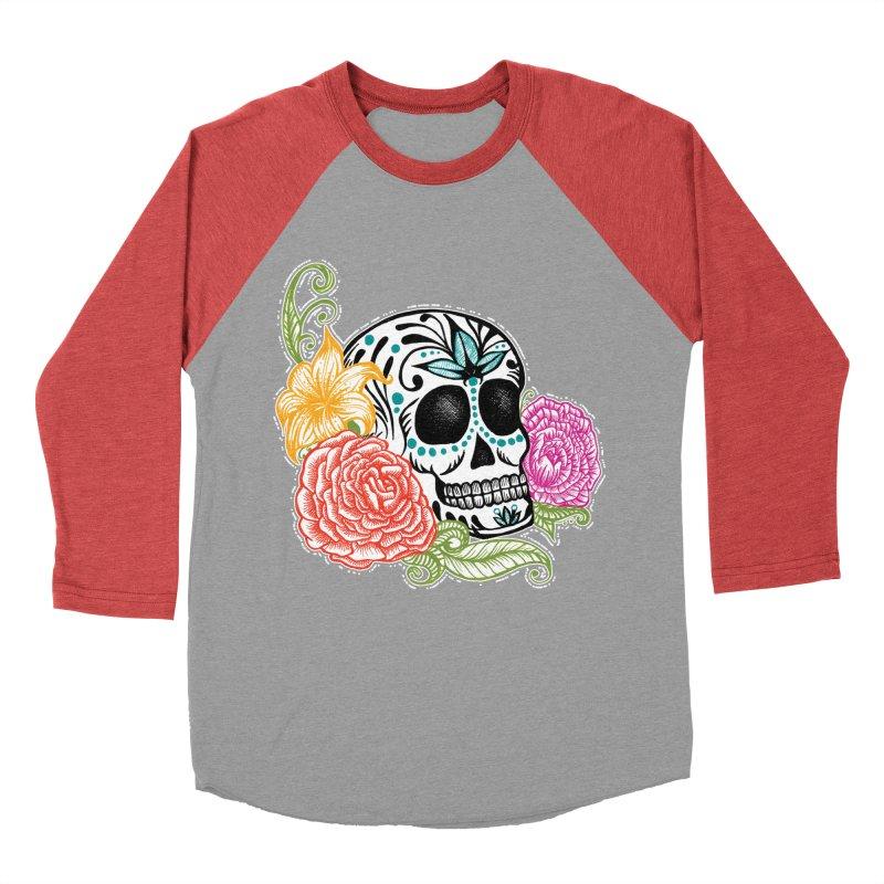 Calavera y Rosas Men's Baseball Triblend T-Shirt by serpenthes's Artist Shop