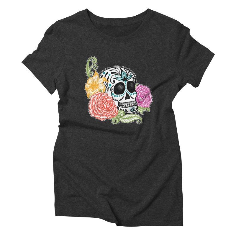 Calavera y Rosas Women's Triblend T-shirt by serpenthes's Artist Shop