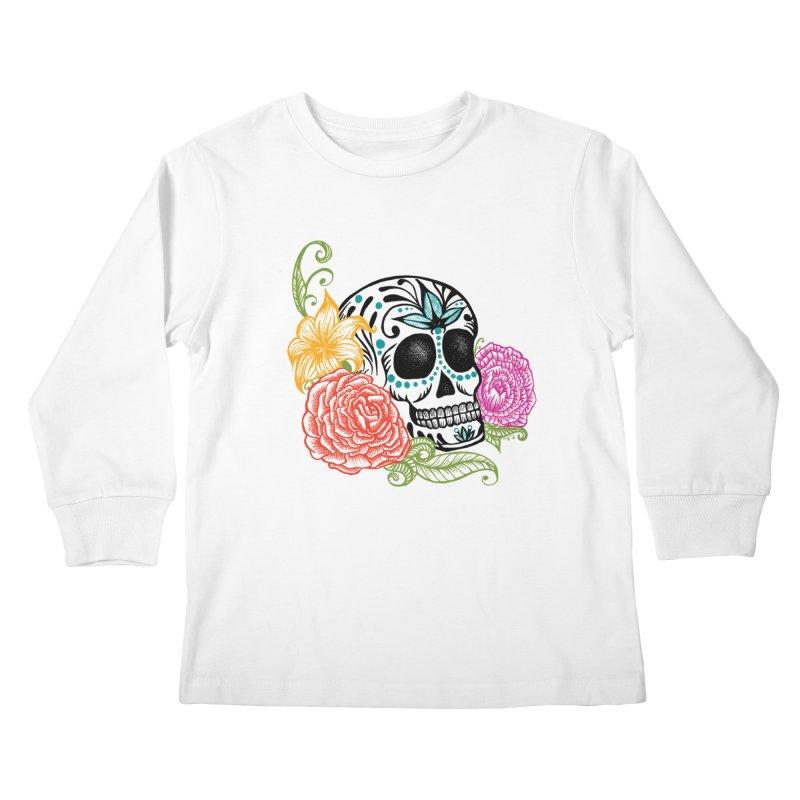 Calavera y Rosas Kids Longsleeve T-Shirt by serpenthes's Artist Shop