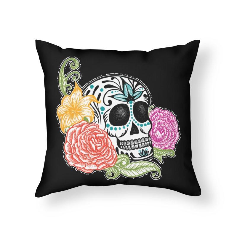 Calavera y Rosas Home Throw Pillow by serpenthes's Artist Shop