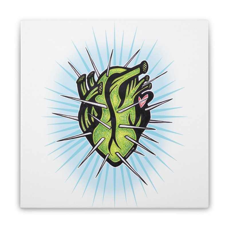 Corazon de Nopal - BLANC Home Stretched Canvas by serpenthes's Artist Shop