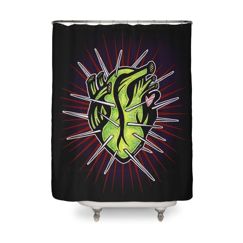 Corazon de Nopal - NOIR Home Shower Curtain by serpenthes's Artist Shop