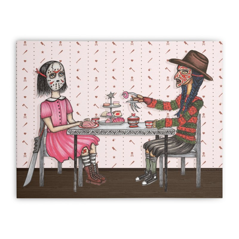 J's Tea Party on Elm Street Home Stretched Canvas by serpenthes's Artist Shop