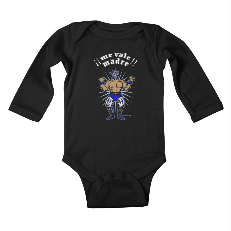 Me Vale Madre! Luchador Kids Baby Longsleeve Bodysuit by serpenthes's Artist Shop