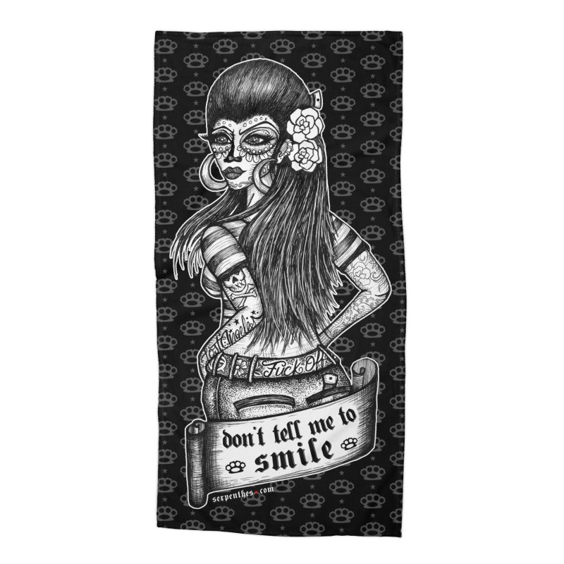 Don't Tell Me To Smile Accessories Beach Towel by serpenthes's Artist Shop