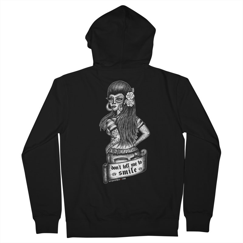 Don't Tell Me To Smile Women's French Terry Zip-Up Hoody by serpenthes's Artist Shop