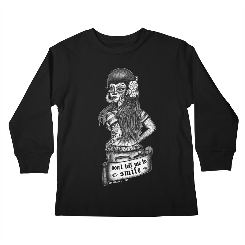 Don't Tell Me To Smile Kids Longsleeve T-Shirt by serpenthes's Artist Shop