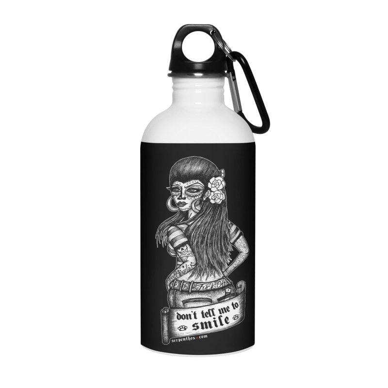 Don't Tell Me To Smile Accessories Water Bottle by serpenthes's Artist Shop
