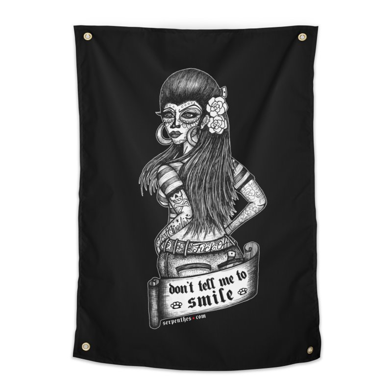 Don't Tell Me To Smile Home Tapestry by serpenthes's Artist Shop