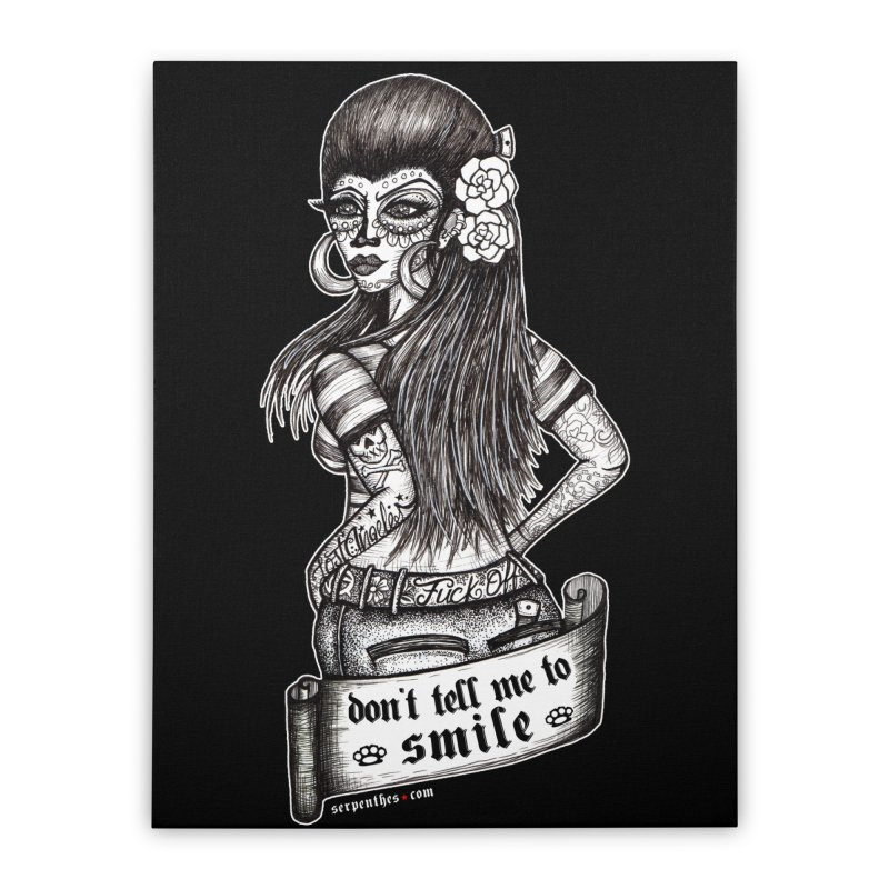 Don't Tell Me To Smile Home Stretched Canvas by serpenthes's Artist Shop