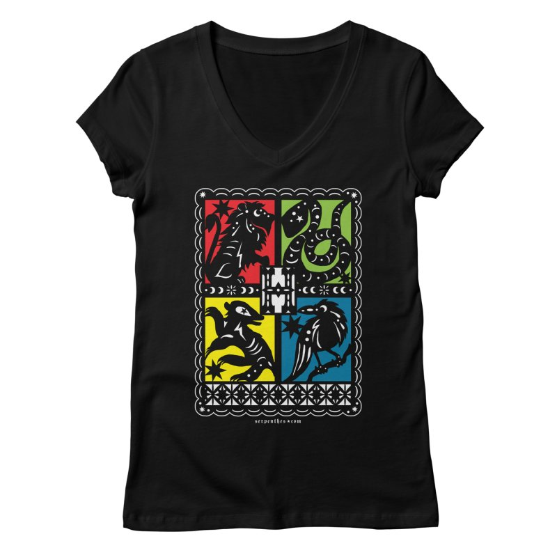 HOGWARTS HOUSES Papel Picado Women's V-Neck by serpenthes's Artist Shop