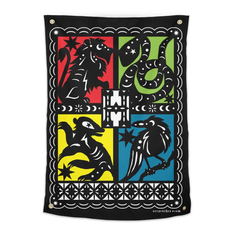 HOGWARTS HOUSES Papel Picado Home Tapestry by serpenthes's Artist Shop