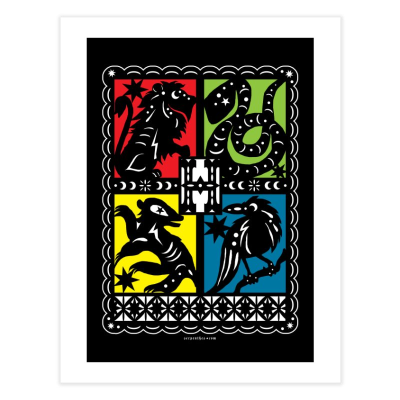 HOGWARTS HOUSES Papel Picado Home Fine Art Print by serpenthes's Artist Shop