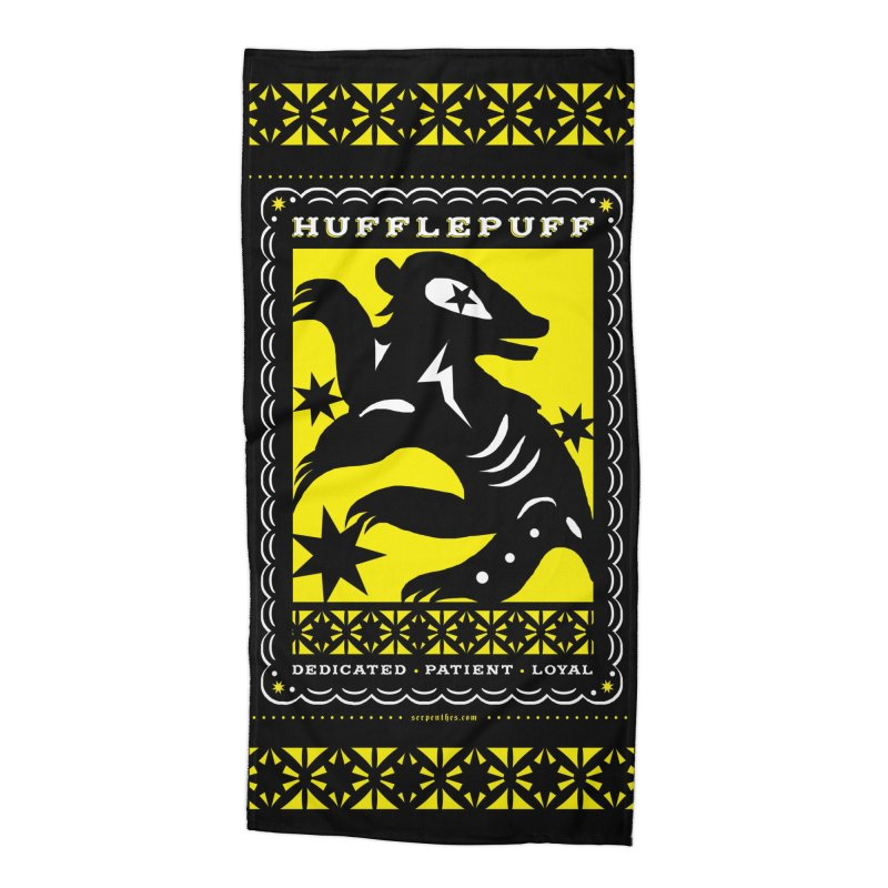 HUFFLEPUFF Mexican Papel Picado inspired Hogwarts House Crest Accessories Beach Towel by serpenthes's Artist Shop