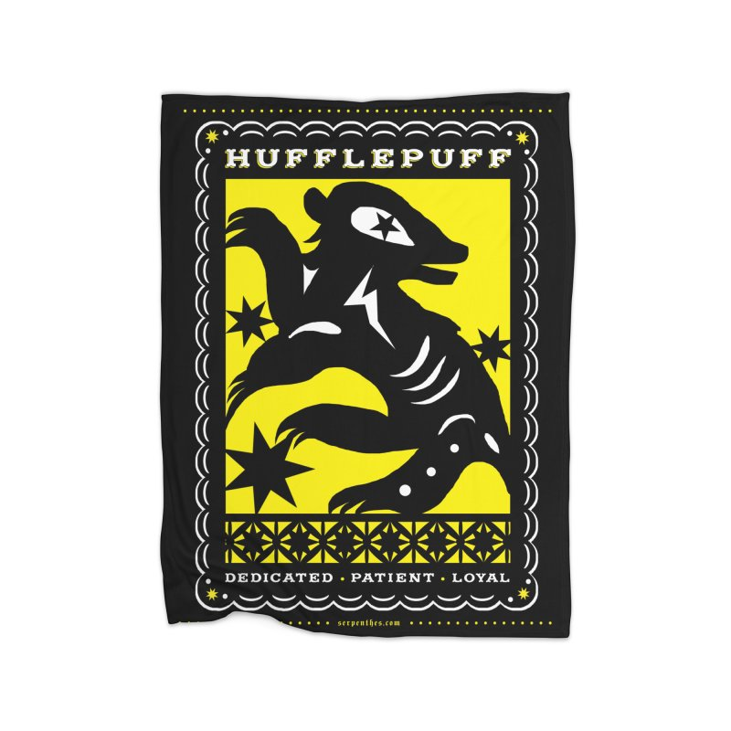 HUFFLEPUFF Mexican Papel Picado inspired Hogwarts House Crest Home Fleece Blanket Blanket by serpenthes's Artist Shop