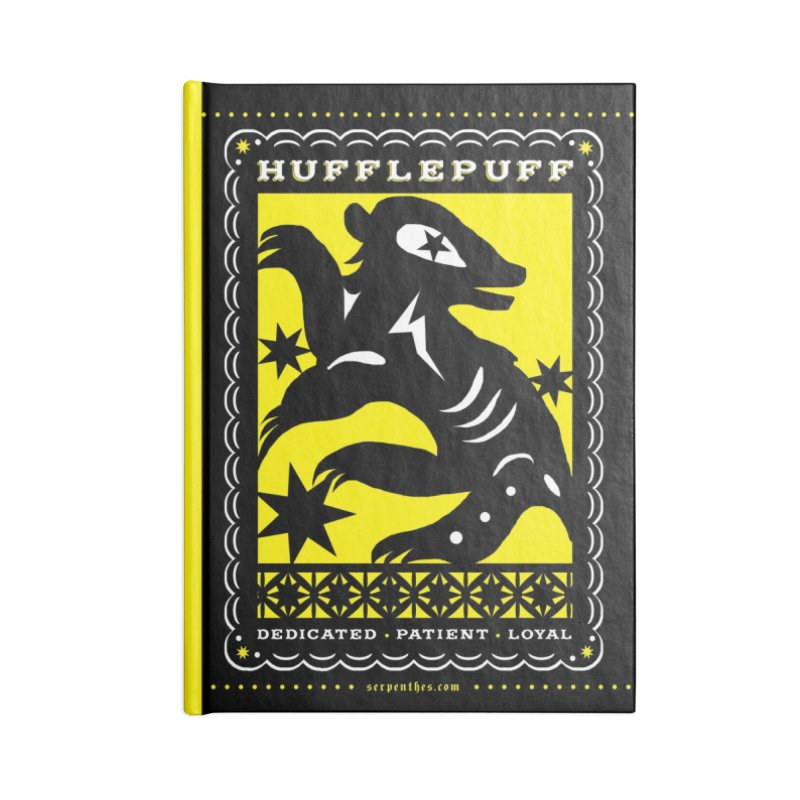 HUFFLEPUFF Mexican Papel Picado inspired Hogwarts House Crest Accessories Lined Journal Notebook by serpenthes's Artist Shop