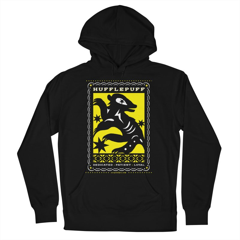 HUFFLEPUFF Mexican Papel Picado inspired Hogwarts House Crest Men's French Terry Pullover Hoody by serpenthes's Artist Shop