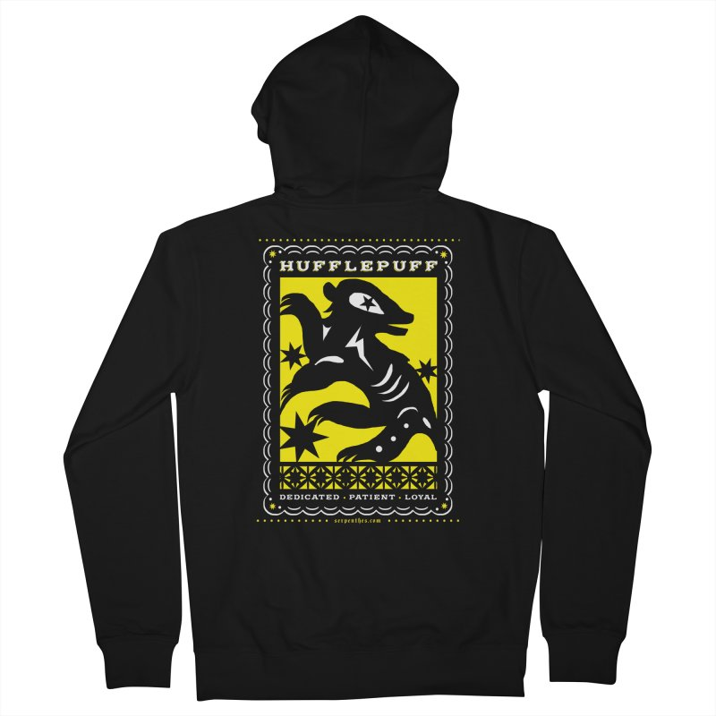 HUFFLEPUFF Mexican Papel Picado inspired Hogwarts House Crest Women's French Terry Zip-Up Hoody by serpenthes's Artist Shop