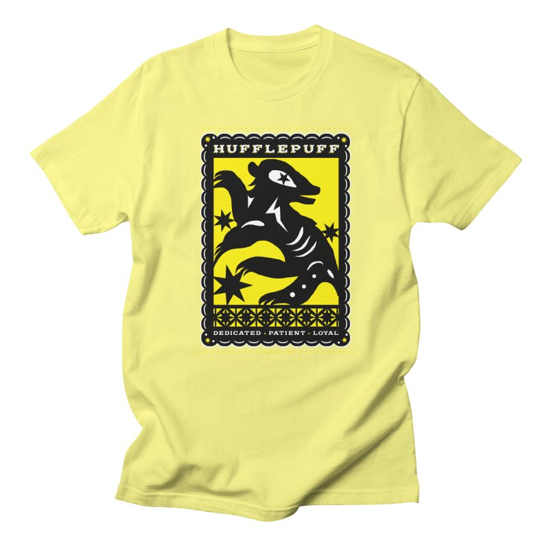 HUFFLEPUFF Mexican Papel Picado inspired Hogwarts House Crest Men's Regular T-Shirt by serpenthes's Artist Shop