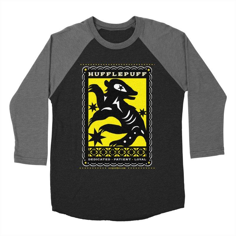 HUFFLEPUFF Mexican Papel Picado inspired Hogwarts House Crest Women's Baseball Triblend Longsleeve T-Shirt by serpenthes's Artist Shop