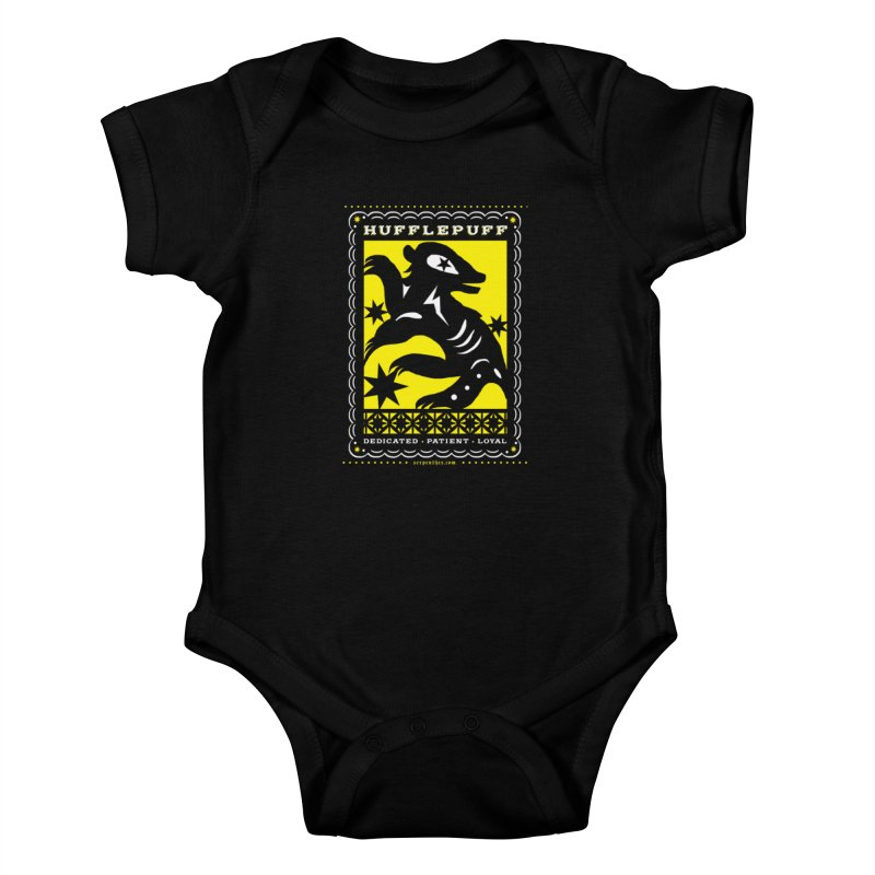 HUFFLEPUFF Mexican Papel Picado inspired Hogwarts House Crest Kids Baby Bodysuit by serpenthes's Artist Shop