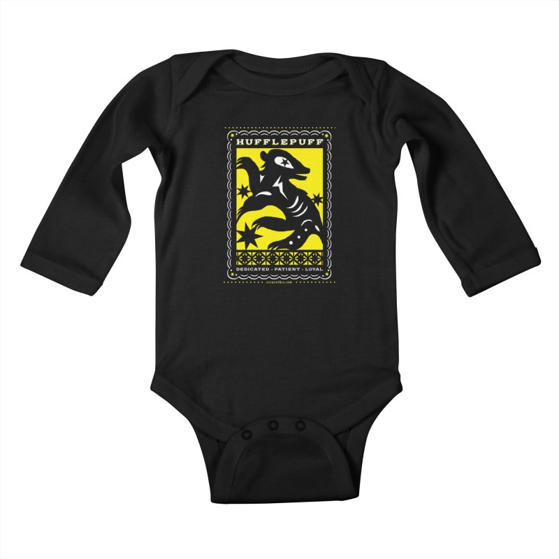 HUFFLEPUFF Mexican Papel Picado inspired Hogwarts House Crest Kids Baby Longsleeve Bodysuit by serpenthes's Artist Shop