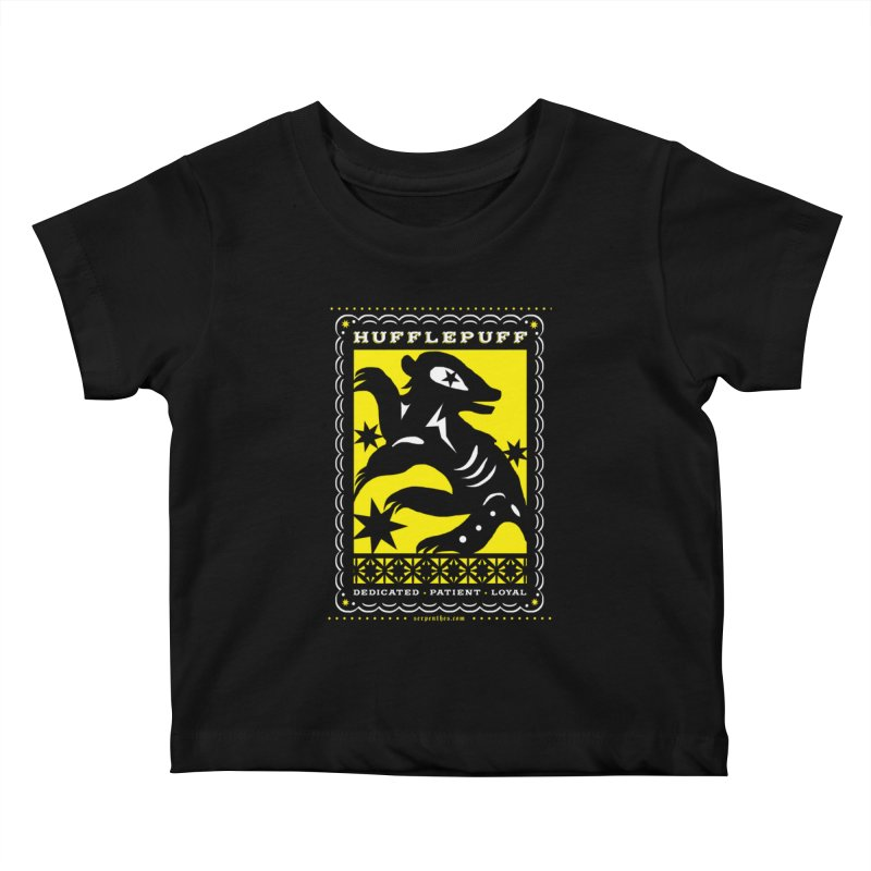 HUFFLEPUFF Mexican Papel Picado inspired Hogwarts House Crest Kids Baby T-Shirt by serpenthes's Artist Shop