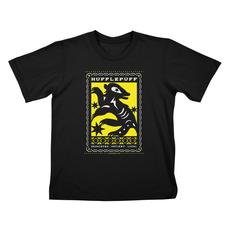 HUFFLEPUFF Mexican Papel Picado inspired Hogwarts House Crest Kids T-Shirt by serpenthes's Artist Shop
