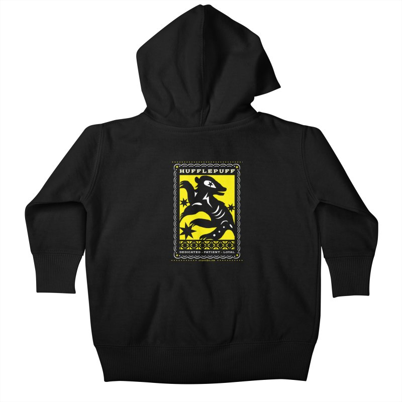 HUFFLEPUFF Mexican Papel Picado inspired Hogwarts House Crest Kids Baby Zip-Up Hoody by serpenthes's Artist Shop