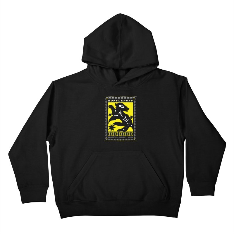 HUFFLEPUFF Mexican Papel Picado inspired Hogwarts House Crest Kids Pullover Hoody by serpenthes's Artist Shop