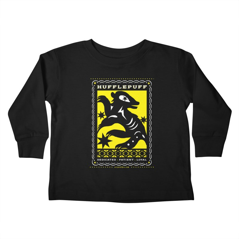 HUFFLEPUFF Mexican Papel Picado inspired Hogwarts House Crest Kids Toddler Longsleeve T-Shirt by serpenthes's Artist Shop