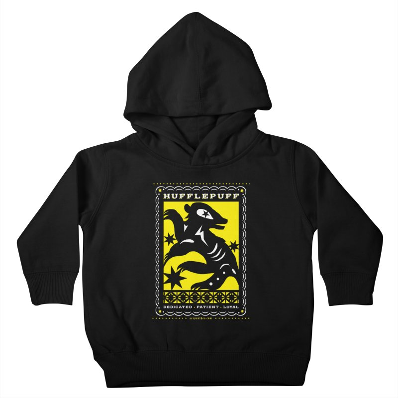 HUFFLEPUFF Mexican Papel Picado inspired Hogwarts House Crest Kids Toddler Pullover Hoody by serpenthes's Artist Shop