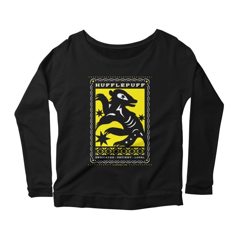 HUFFLEPUFF Mexican Papel Picado inspired Hogwarts House Crest Women's Scoop Neck Longsleeve T-Shirt by serpenthes's Artist Shop