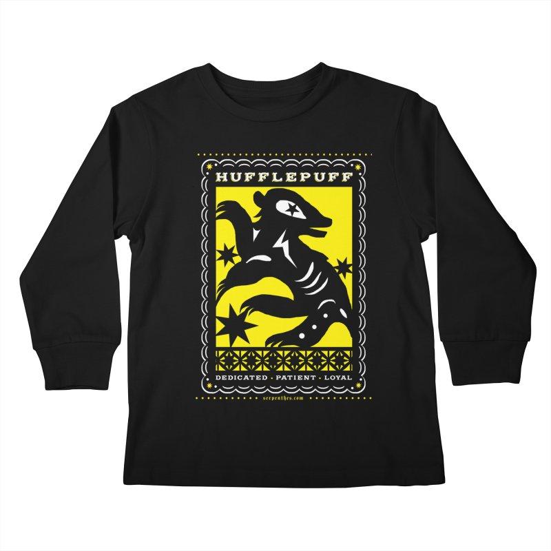 HUFFLEPUFF Mexican Papel Picado inspired Hogwarts House Crest Kids Longsleeve T-Shirt by serpenthes's Artist Shop