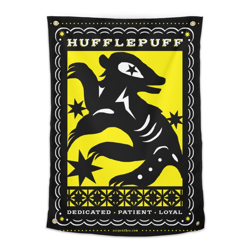 HUFFLEPUFF Mexican Papel Picado inspired Hogwarts House Crest Home Tapestry by serpenthes's Artist Shop