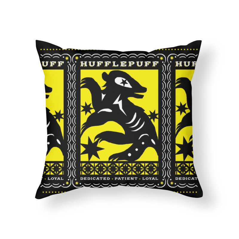 HUFFLEPUFF Mexican Papel Picado inspired Hogwarts House Crest Home Throw Pillow by serpenthes's Artist Shop