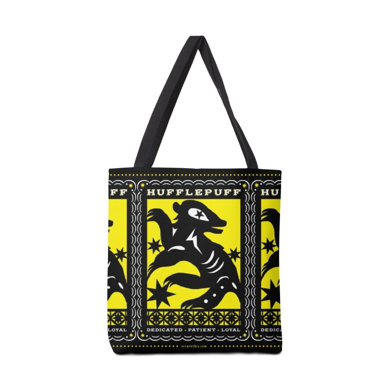 HUFFLEPUFF Mexican Papel Picado inspired Hogwarts House Crest Accessories Tote Bag Bag by serpenthes's Artist Shop