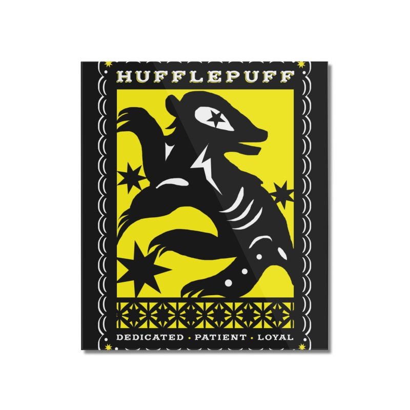 HUFFLEPUFF Mexican Papel Picado inspired Hogwarts House Crest Home Mounted Acrylic Print by serpenthes's Artist Shop