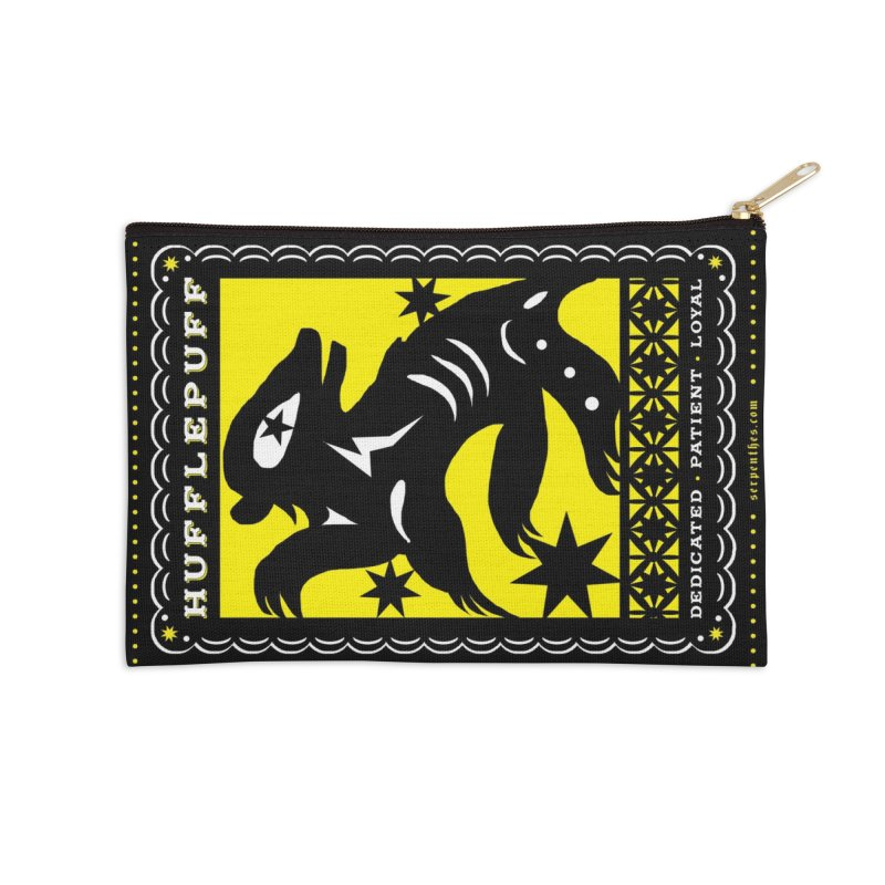HUFFLEPUFF Mexican Papel Picado inspired Hogwarts House Crest Accessories Zip Pouch by serpenthes's Artist Shop