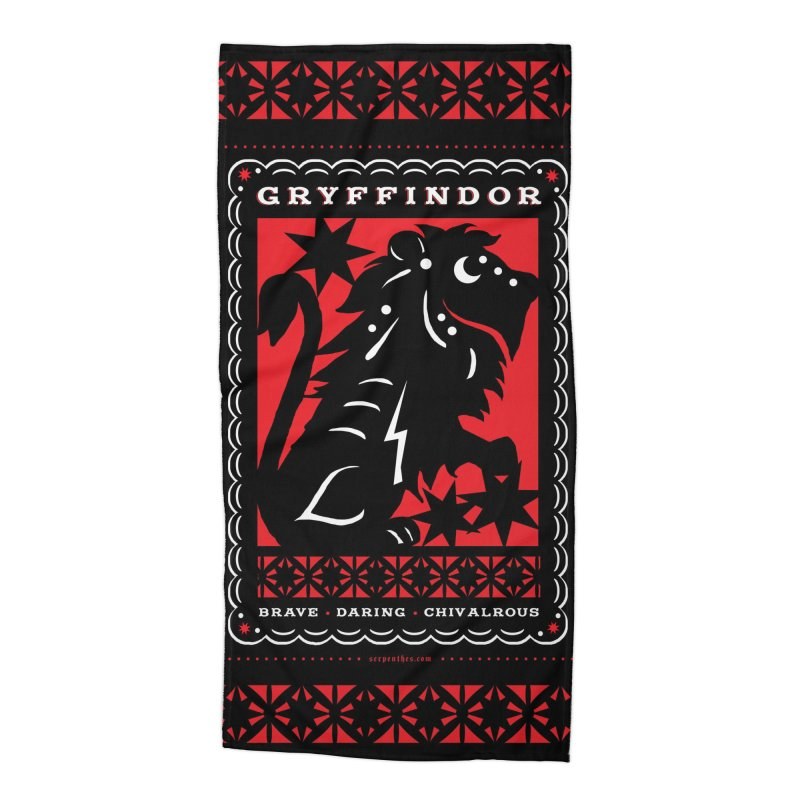 GRYFFINDOR Mexican Papel Picado Inspired Hogwarts House Crest Accessories Beach Towel by serpenthes's Artist Shop