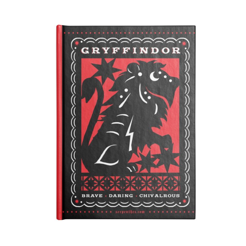 GRYFFINDOR Mexican Papel Picado Inspired Hogwarts House Crest Accessories Lined Journal Notebook by serpenthes's Artist Shop
