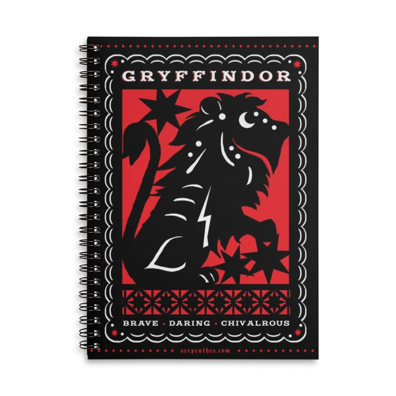 GRYFFINDOR Mexican Papel Picado Inspired Hogwarts House Crest Accessories Lined Spiral Notebook by serpenthes's Artist Shop