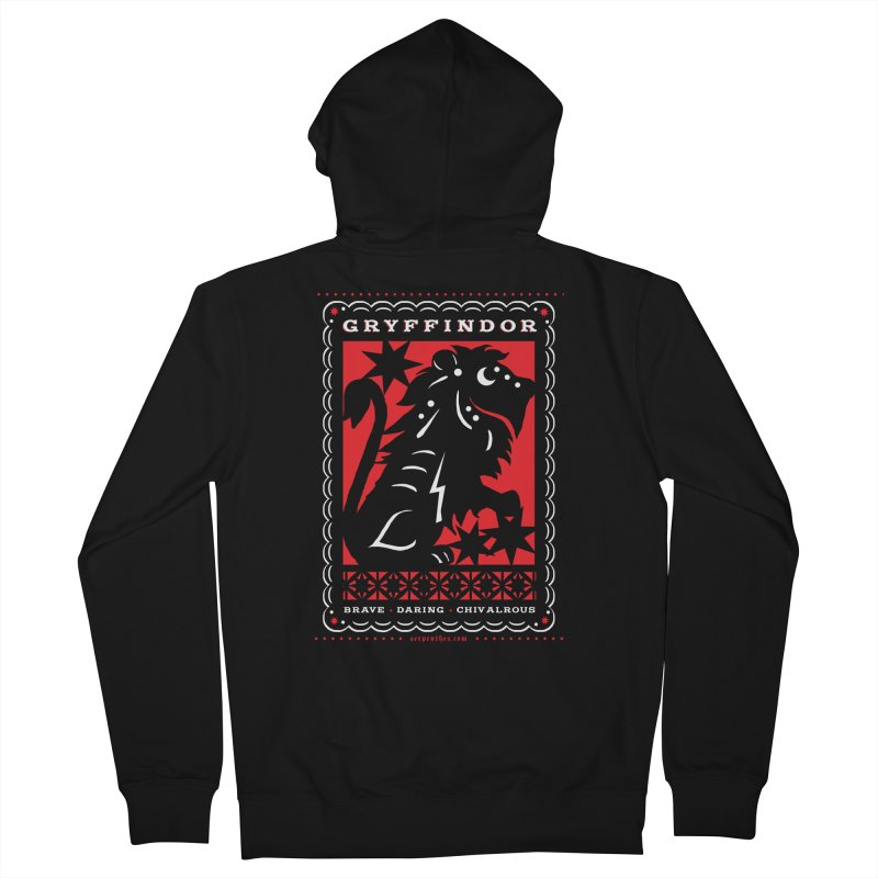 GRYFFINDOR Mexican Papel Picado Inspired Hogwarts House Crest Men's Zip-Up Hoody by serpenthes's Artist Shop